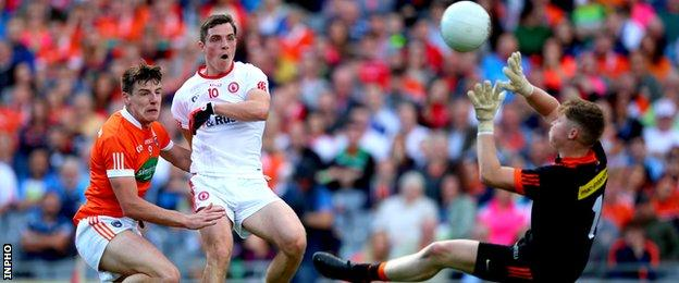 David Mulgrew's two goals in the second half made sure of Tyrone's place in the semi-finals