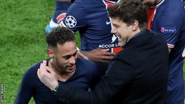 Neymar and Mauricio Pochettino