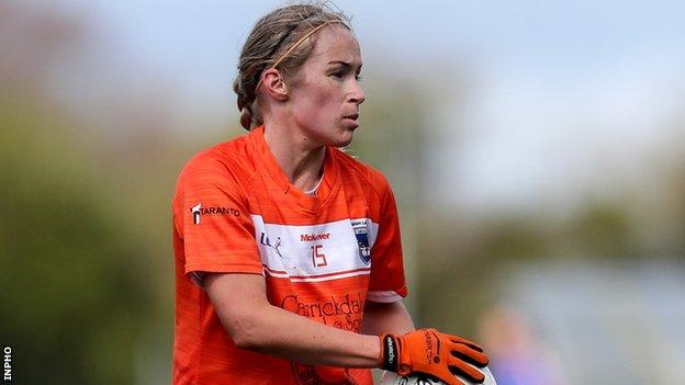 Marian McGuinness in action for Armagh ladies in 2018