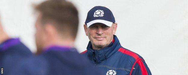 Scotland coach Vern Cotter looks calm during training