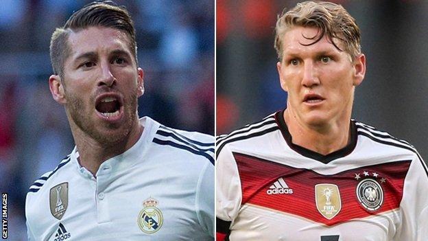 Sergio Ramos (l) and Bastian Schweinsteiger