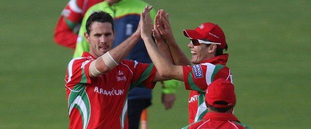 Australian bowler Shaun Tait celebrates taking a wicket for Glamorgan