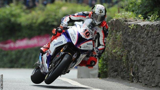 Peter Hickman on his way to a record-breaking victory in Friday's Senior TT race