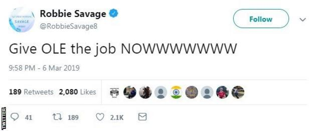 Tweet from Robbie Savage saying 'Give Ole the job now'