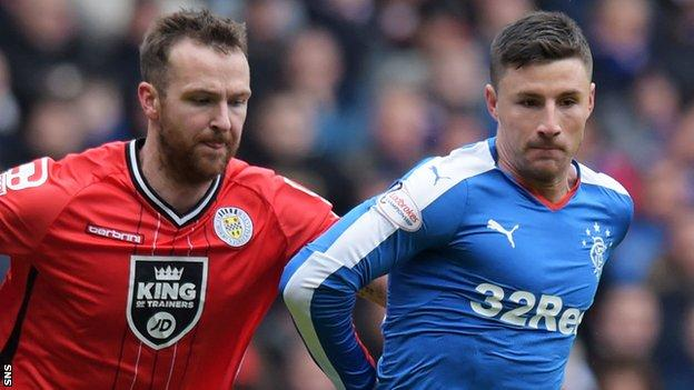 St Mirren's Andy Webster and Rangers' Michael O'Halloran