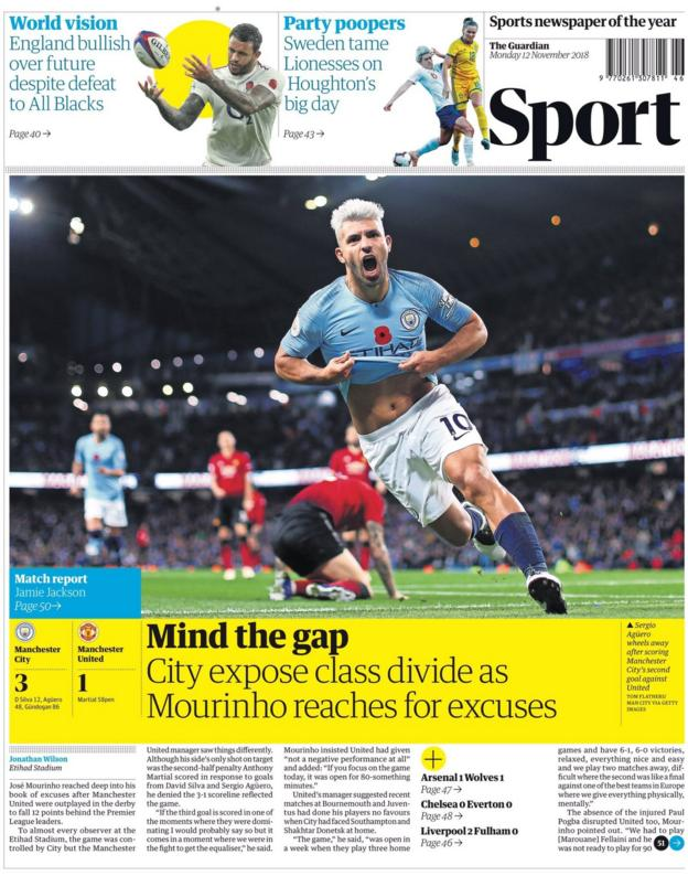 The front page of the Guardian's sport section