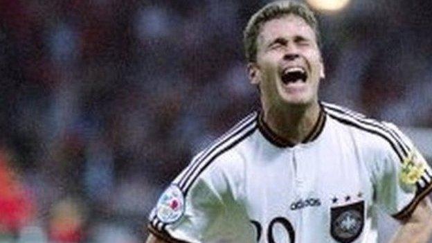 Germany's Oliver Bierhoff celebrates