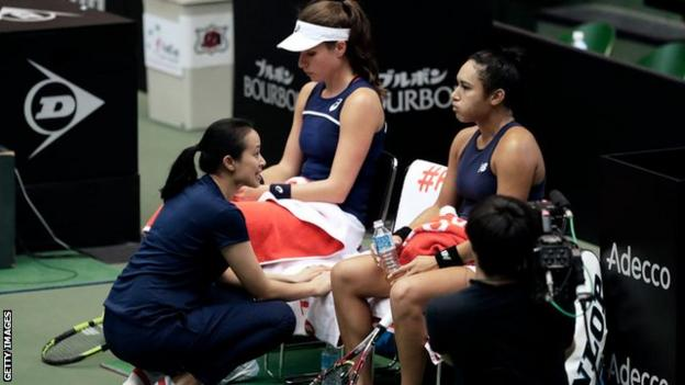 Anne Keothavong talks to Johanna Konta and Heather Watson in last year's Fed Cup play-off