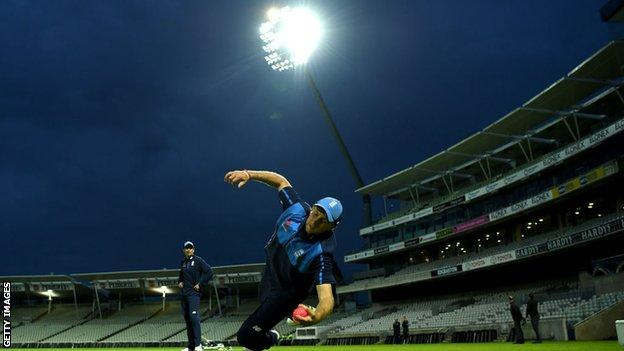England captain Joe Root takes a catch during practice at Edgbaston