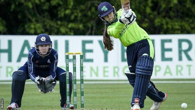 Amy Hunter in action against Scotland at Stormont in May