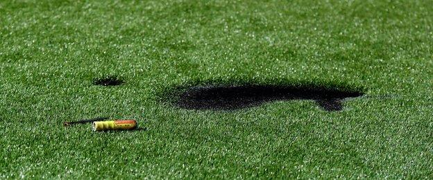 The flare caused damage to Hyde's artificial pitch