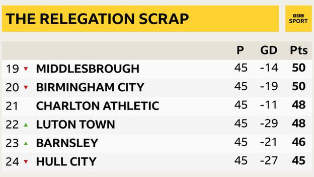 Relegation battle: Championship bottom six - Middlesbrough, Birmingham, Charlton, Luton, Barnsley, Hull