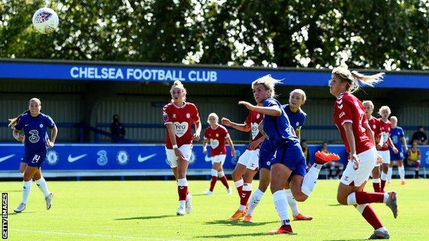 Millie Bright scores against Bristol City