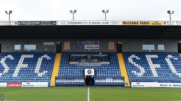 Stranraer's Stair Park failed a pitch inspection on Tuesday morning