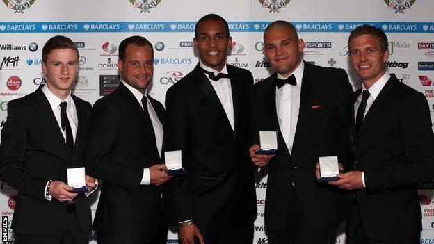 O'Kane (left), Nicholson (second left), Bobby Olejnik (second right) and Lee Mansell (right)