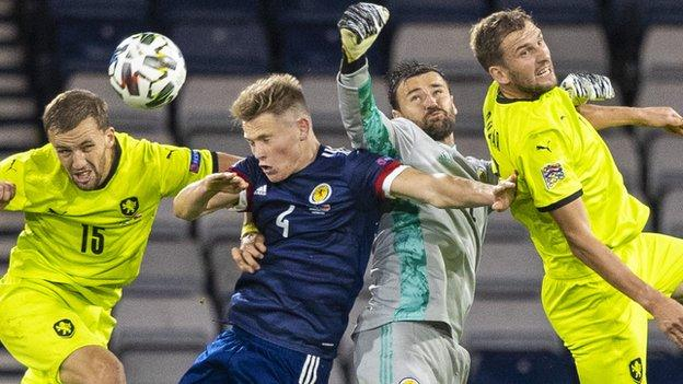 David Marshall in action for Scotland