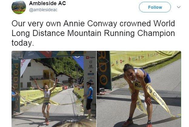 Ambleside Athletics Club tweet news of Conway's title