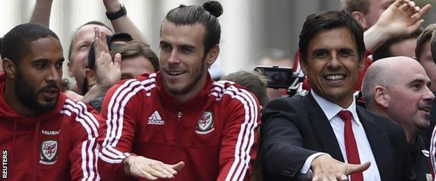 Wales captain Ashley Williams, star forward Gareth Bale and manager Chris Coleman enjoy a homecoming parade in Cardiff