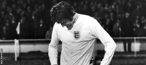 Hunter was disconsolate after his mistake led to England failing to qualify for the 1974 World Cup