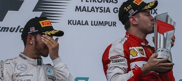 Sebastian Vettel wins the 2015 Malaysian Grand Prix