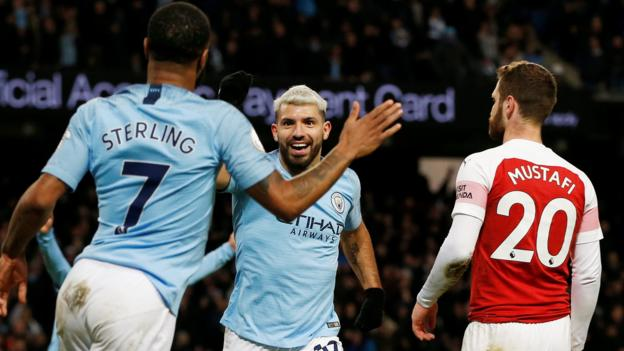 Manchester City 3-1 Arsenal: Sergio Aguero scores hat-trick as City ease past Gunners thumbnail