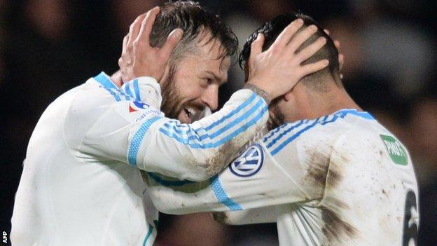 Steven Fletcher (left) celebrates scoring for Marseille