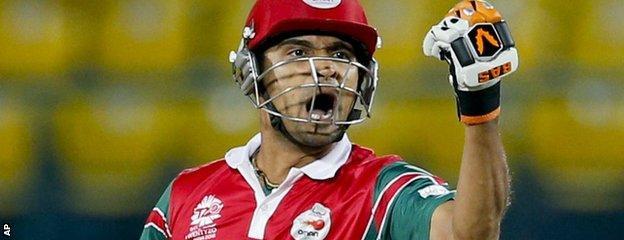 Oman's Ajay Lalcheta celebrates victory