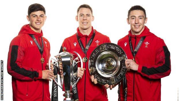 Wales back three Louis Rees-Zammit, Liam Williams and Josh Adams