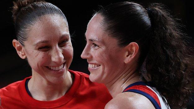 Sue Bird and Diana Taurasi become the first players ever, (male or female), to win five Olympic basketball titles.