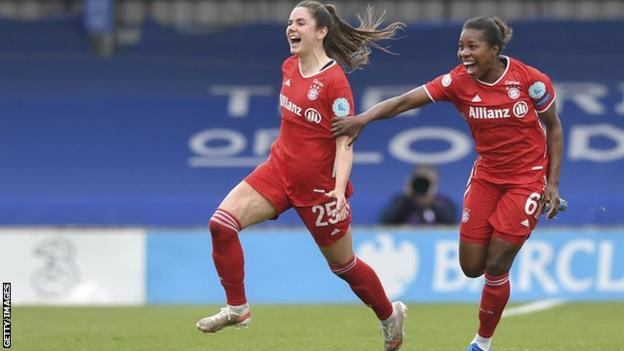 Sarah Zadrazil celebrates scoring for Bayern Munich against Chelsea in the Women's Champions League