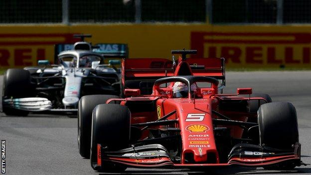 Sebastian Vettel leads Lewis Hamilton during the Canadian Grand Prix