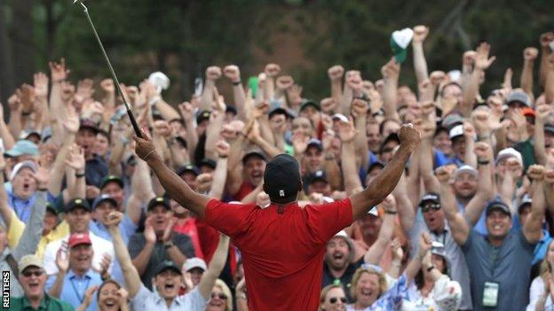 Tiger Woods celebrates winning the 2019 Masters