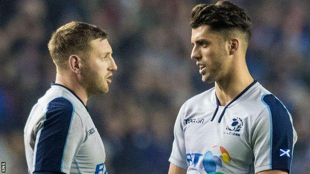Scotland's Finn Russell and Adam Hastings