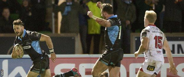 Tommy Seymour scores a try for Glasgow Warriors against Ulster