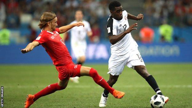 Joel Campbell of Costa Rica against Switzerland