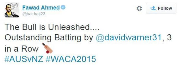 Australia spinner Fawad Ahmed was in awe of Warner's innings