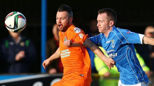 Ivan Sproule and Dermot McCaffrey in action at Stangmore Park