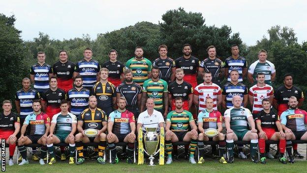 England's Premiership players pose in club shirts
