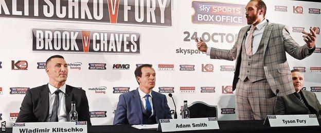 Tyson Fury after changing into a suit