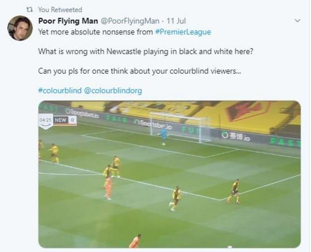 "A Twitter user says it is ""absolute nonsense"" that Newcastle are playing in orange against Watford, who are playing in yellow.. ""Can you please for once think about your colour blind viewers?"" he asks."