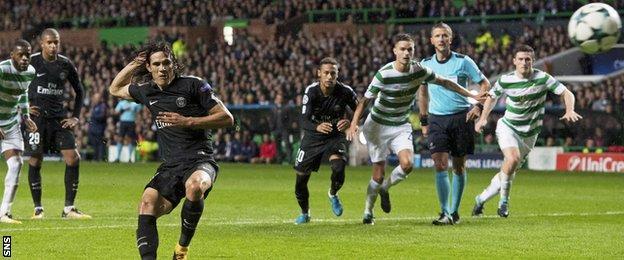 Edinson Cavani scores a penalty for Paris St-Germain against Celtic