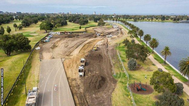 A drone image of changes being made to Turn Nine