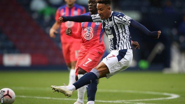 Callum Robinson scores for West Brom against Chelsea