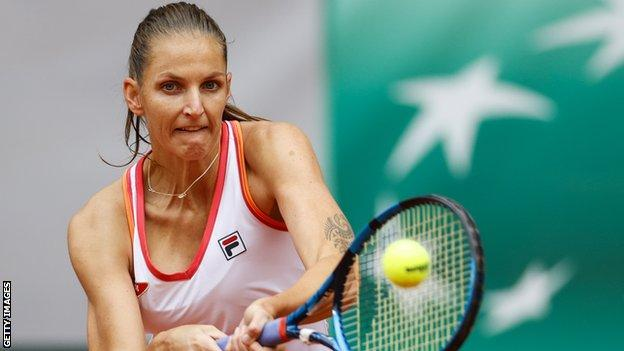 Karolina Pliskova hits a backhand