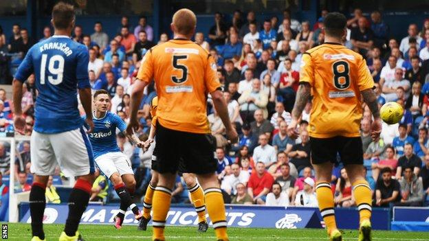 Barrie McKay (second left) lets fly from 25 yards to open the scoring for Rangers