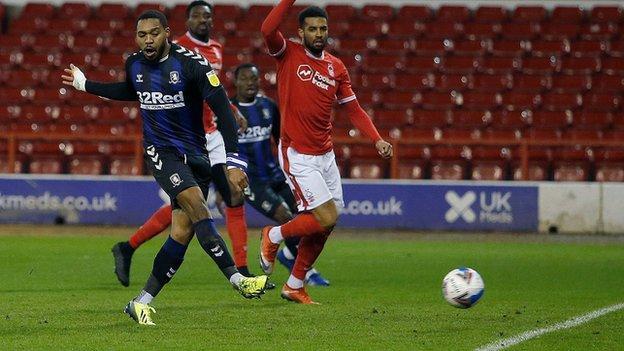 Britt Assombalonga scores Middlesbrough's first goal against Nottingham Forest