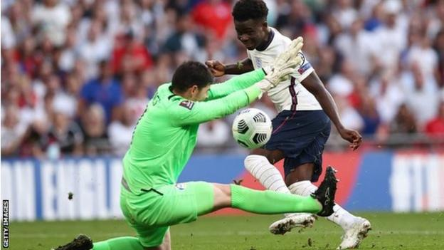 Bukayo Saka in action for England against Andorra in a World Cup qualifying match at Wembley