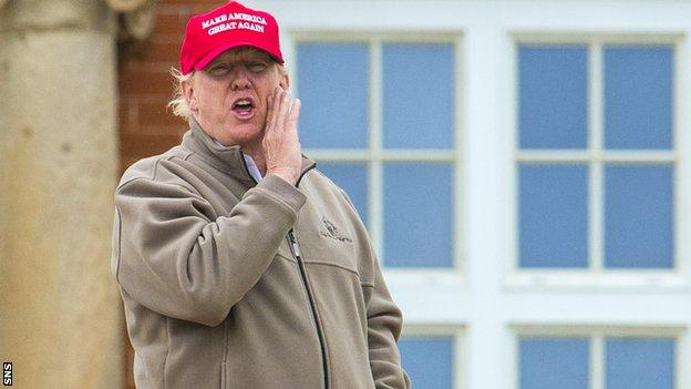 Trump owns two golf courses in Scotland