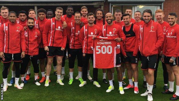 Walsall captain Adam Chambers received a commemorative shirt for reaching 500 games in October
