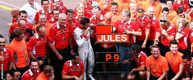 Jules Bianchi celebrates with Marussia